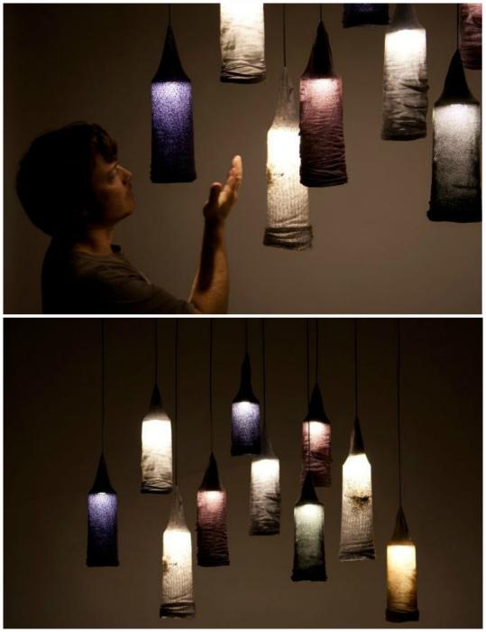 Дизайнерские светильники из носков.
