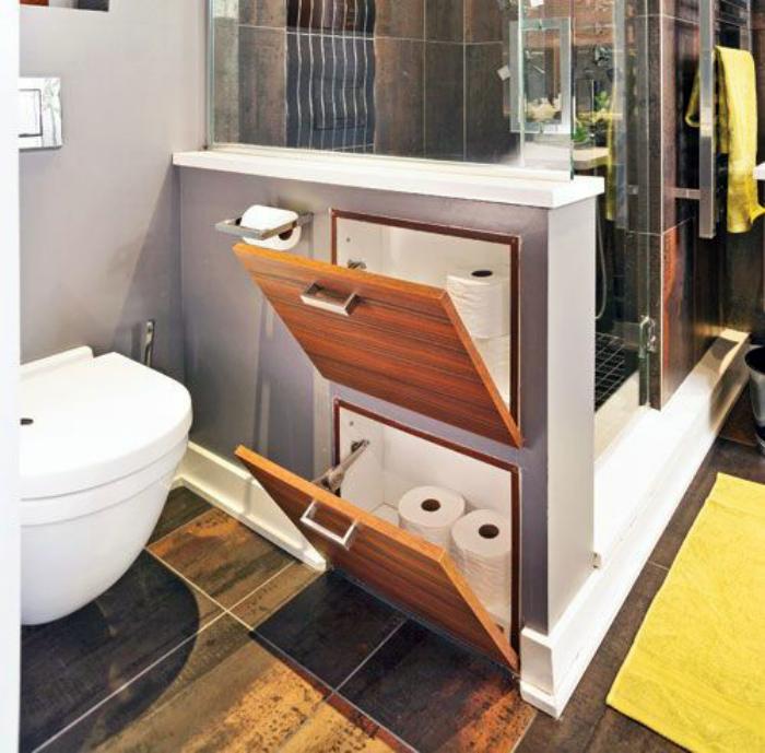 Шкафчики с откидными крышками.| Фото: Pinterest.
