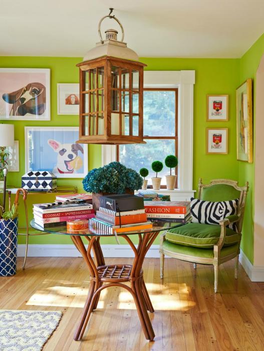 Ярко-зеленый цвет в интерьере.