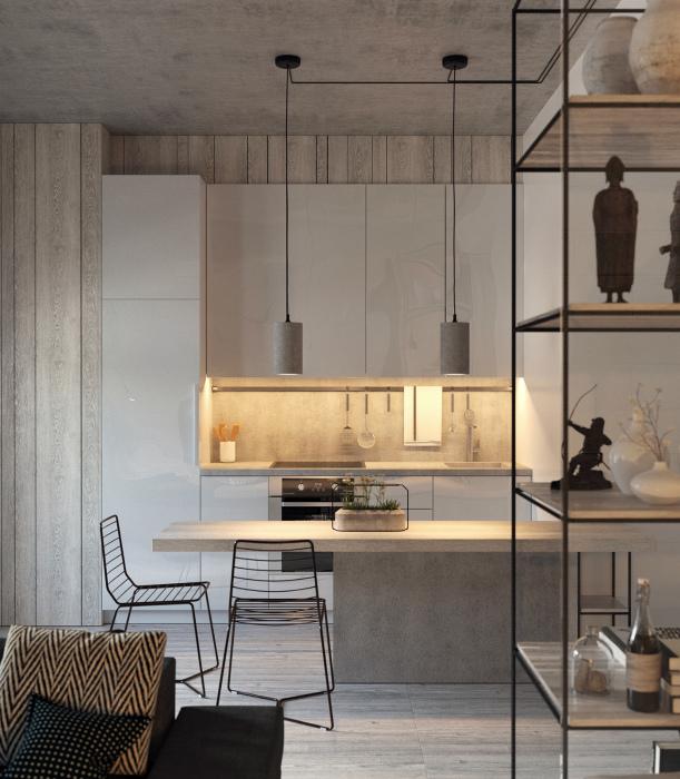 Открытая кухня в индустриальном стиле.