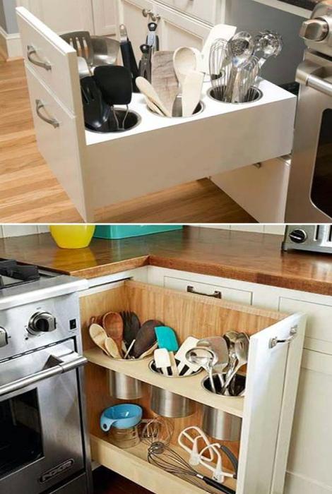 Выдвижной вертикальный ящик для кухонных инструментов. | Фото: Ensanekamel.com.