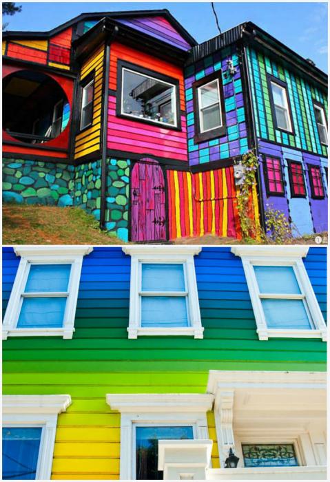 Яркая покраска дома.| Фото: Pinterest, bugaga.ru.