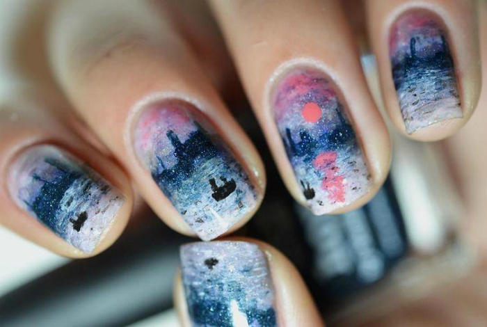 Шедевры живописи на ногтях.