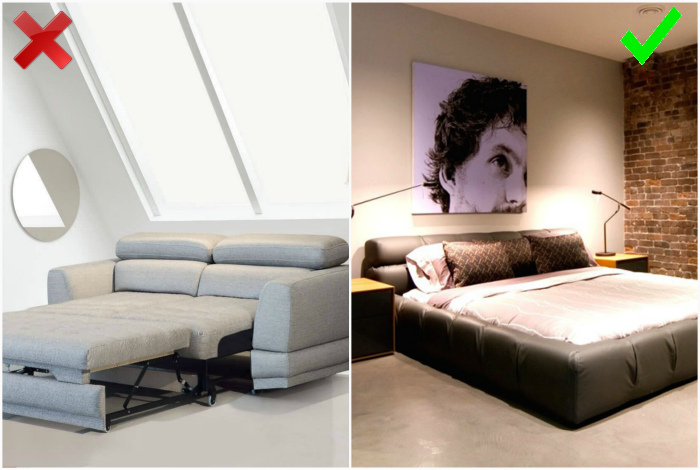 Раскладной диван вместо кровати. | Фото: Мебельный портал, Remoo.RU.