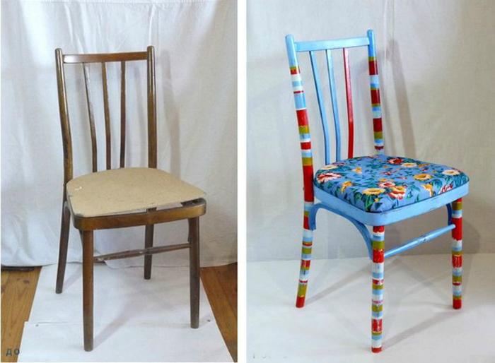 Яркий стул с новой оббивкой.