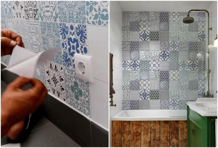 Наклейки на стенах ванной комнаты. | Фото: Своими руками, Я Покупаю.