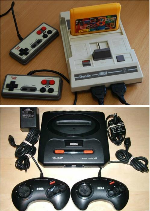 Любимые игровые приставки Dendy и Sega.