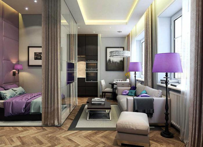 Элегантная гостиная и спальня в одной комнате.