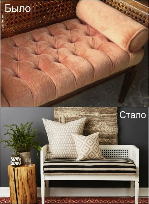 Трансформация старой скамьи в очаровательный диванчик.