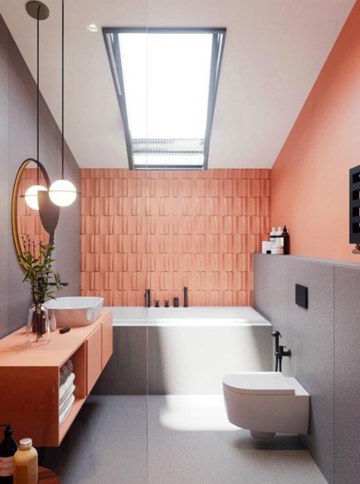 Лососевый цвет в интерьере ванны. | Фото: HOMEINFO.hu.