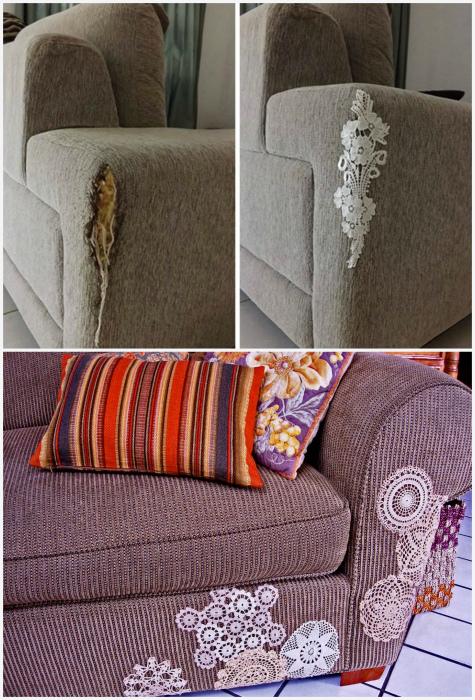 Ремонт обивки дивана.