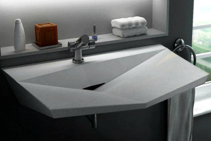 Прямоугольная раковина в геометрическом стиле.