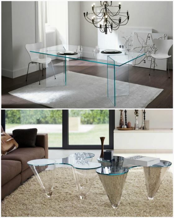 Мебель из прозрачного стекла и пластика.