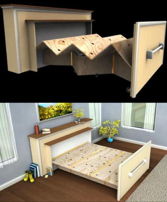 Консольный столик с выдвижной кроватью.