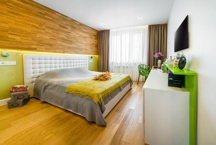 Свежая спальня в стиле эко.