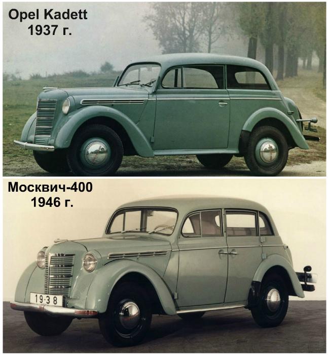 Opel Kadett, 1937 год, и «Москвич-400», 1946 год.