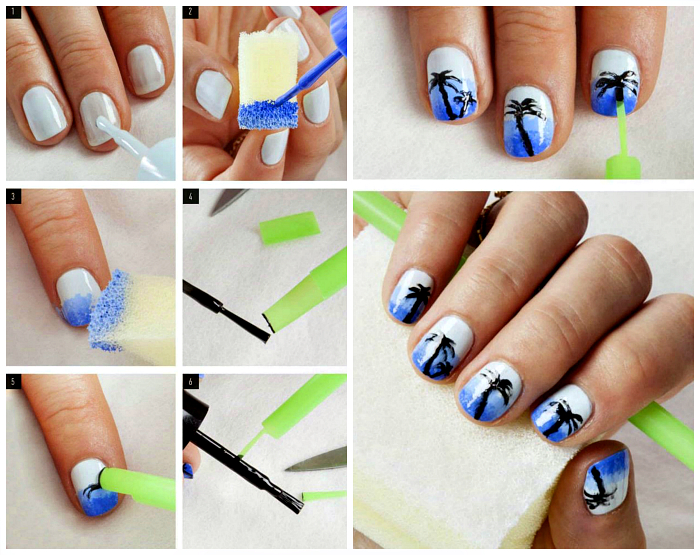 Малюнки пальм на нігтях.
