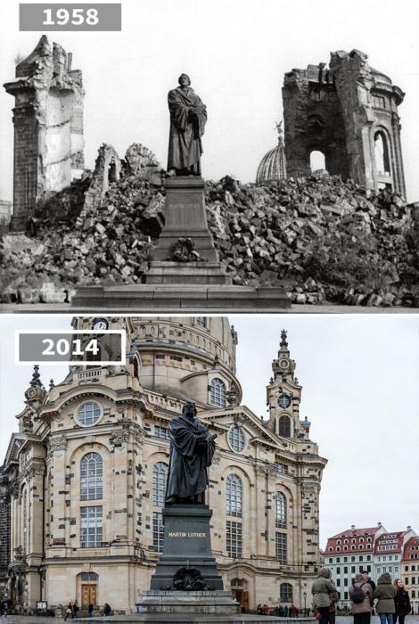 Статуя Мартина Лютера, Дрезден, 1958 и 2014 год.