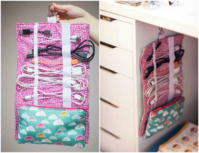 Текстильный органайзер для проводов. | Фото: Pinterest, Cut Out + Keep.