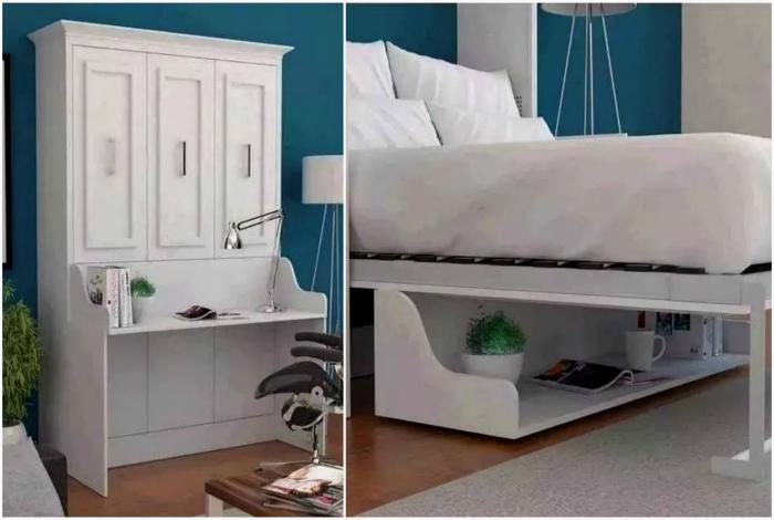 Кровать, которая превращается в рабочее место.