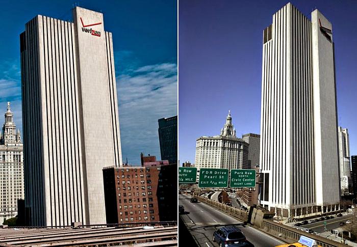 The Verizon Building на улице Перл-стрит в Нью-Йорке.