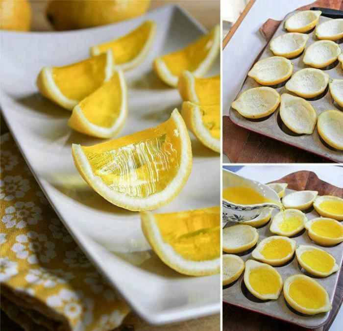 Желе в лимонной кожуре.