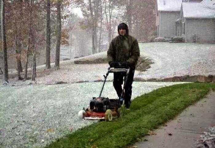 Первый снег - время косить траву.