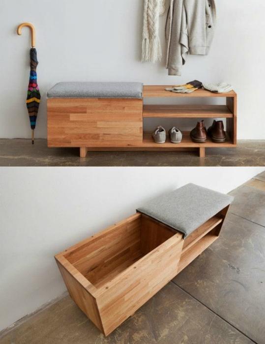 Узкий диванчик с полками для обуви.