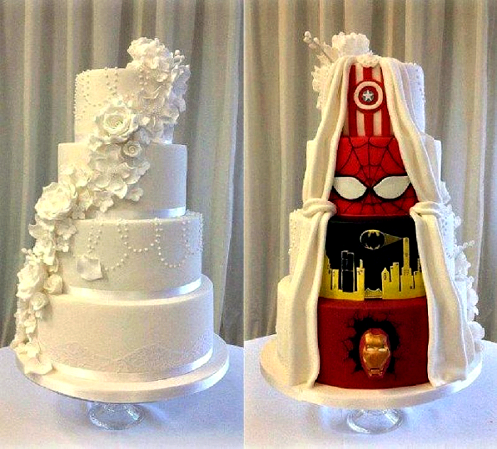 Свадебный торт с логотипами комиксов.