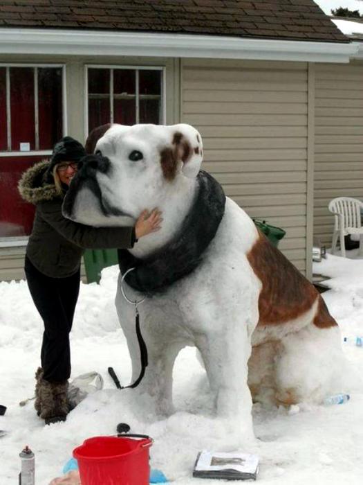 Снежная скульптура в виде собаки.