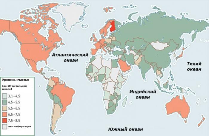 Уровень счастья в странах мира.