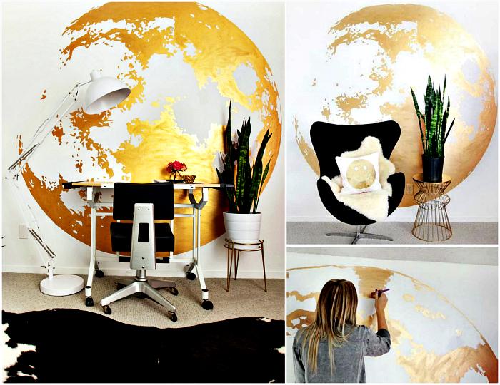 Огромный рисунок луны на стене.