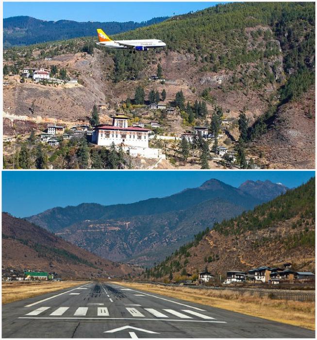 Аэропорт Паро в Бутане.