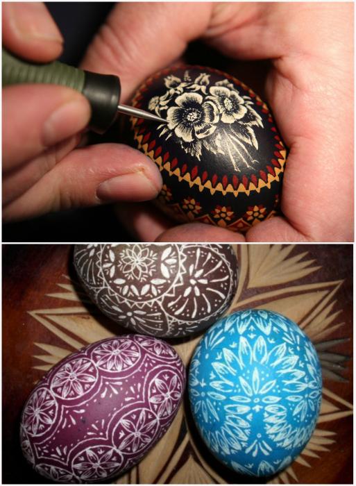 Пасхальные яйца, украшенные росписью-гравировкой.