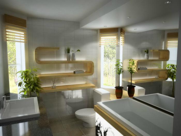 Небольшая ванная комната в современном стиле.