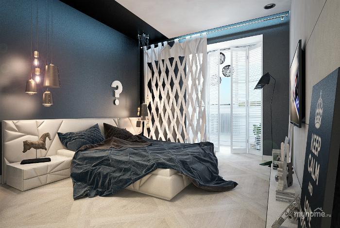 Современная спальня в бело-серых оттенках.