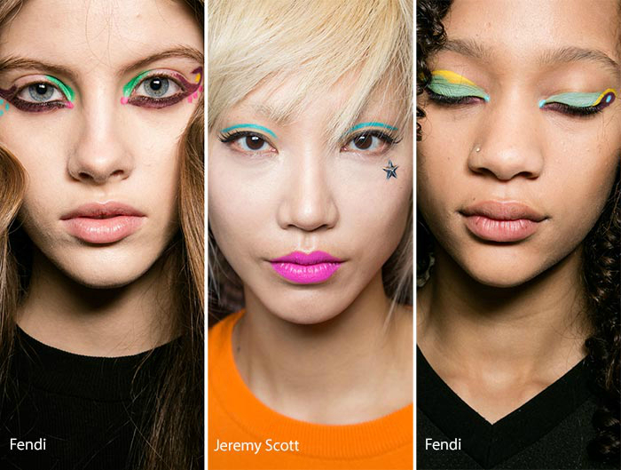 Цветной макияж век.