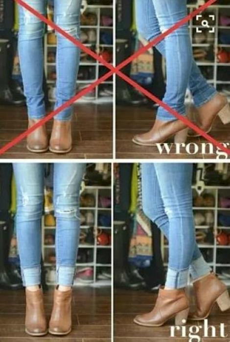 Узкие джинсы в сочетании с ботинками.