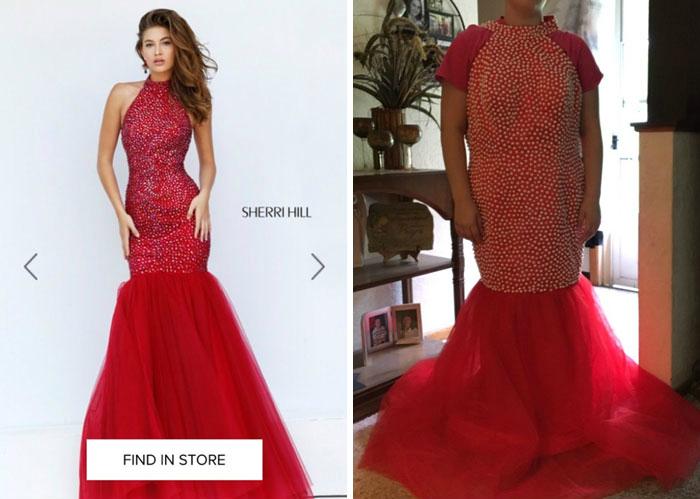 Эффектное красное платье.