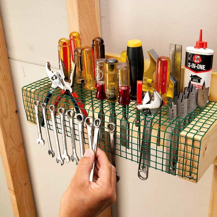 Полка-органайзер из сетки. | Фото: Pinterest.