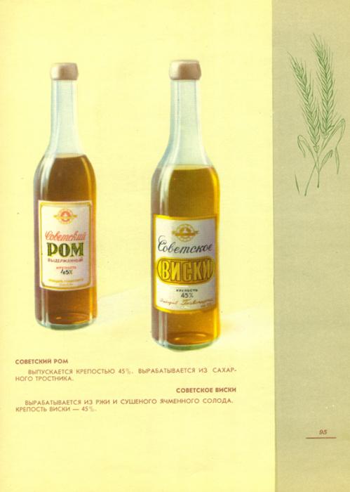 Советский ром вырабатывался из сахарного тростника, а виски - из ржи и ячменного солода.
