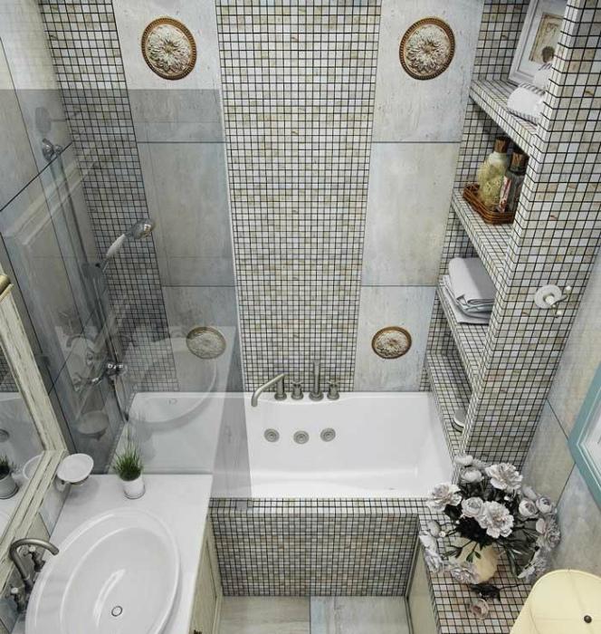 Маленькая ванная комната в стиле современная классика.