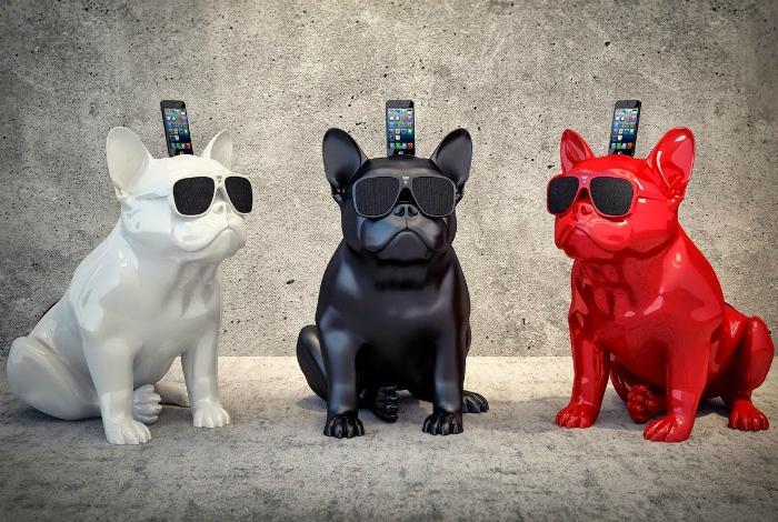 Потрясающие bluetooth-колонки для iPhone в виде ярких бульдогов от компании Jarre Technologies.