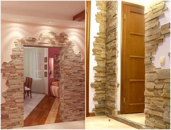 Искусственный камень на стенах.