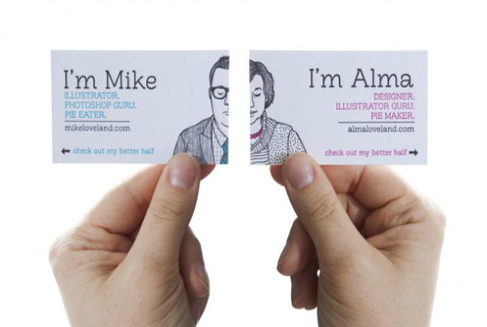 Двухсторонние визитки пары иллюстраторов.