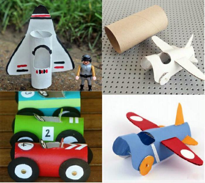 Игрушечные машинки и самолеты.