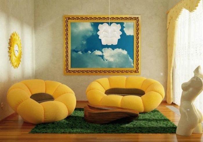 Диван и кресло в виде цветов.