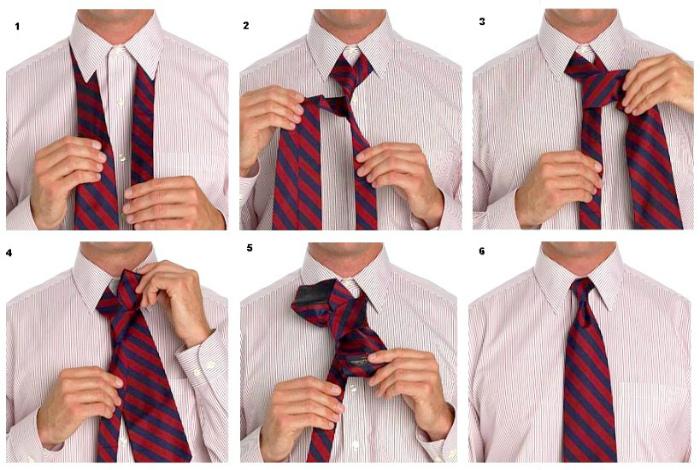 Инструкция по завязыванию галстука.