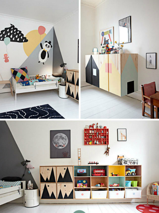 Спальня с яркими стенами и мебелью.