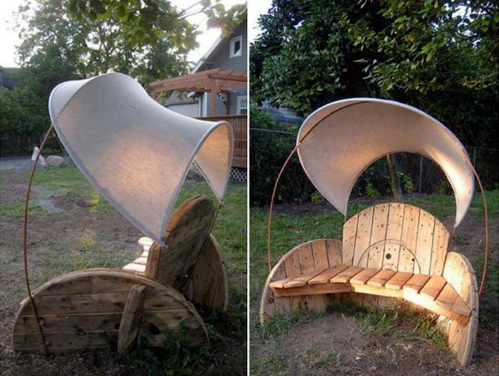 Деревянная скамейка с козырьком.